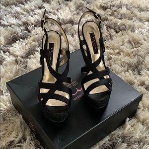 Nina Pallie Black Platform Sandals Size 8 1/2